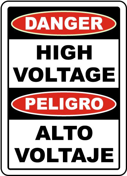 Bilingual Danger High Voltage Sign