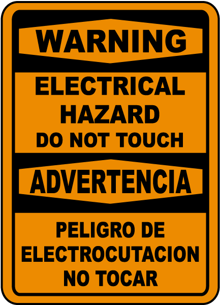 Bilingual Warning Electrical Hazard Do Not Touch Sign