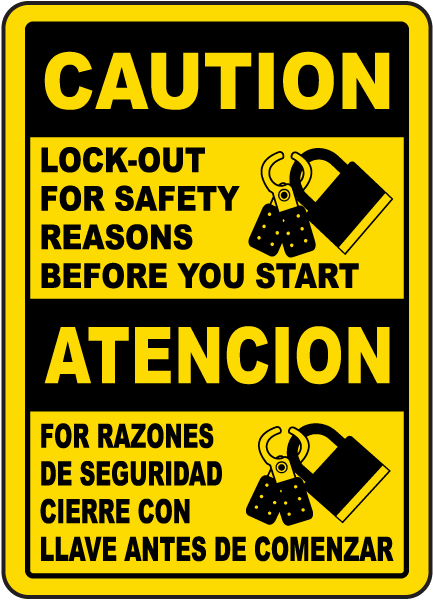 Bilingual Caution Lock Out For Safety Before You Start Sign