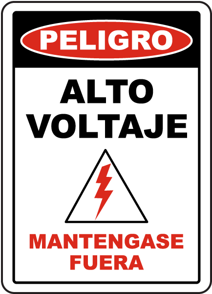 Spanish Danger High Voltage Keep Out Label