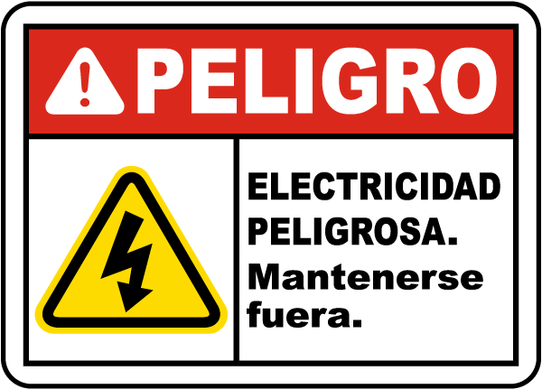 Spanish Danger Electrical Hazard Keep Out Sign