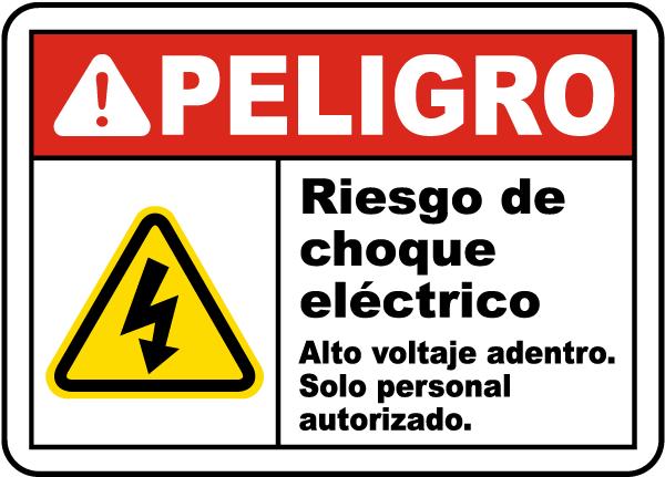 Spanish Danger Shock Hazard High Voltage Inside Sign