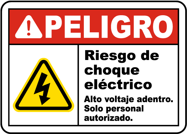 Spanish Danger Shock Hazard High Voltage Inside Label