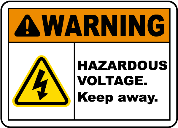 Hazardous Voltage Keep Away Label