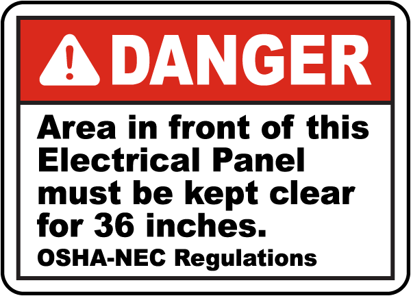 Area In Front of Panel Must Be Clear Label