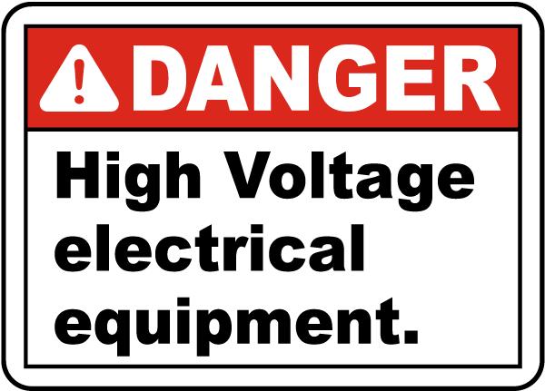 Danger High Voltage Equipment Label