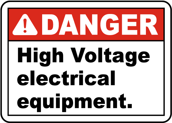 Danger High Voltage Equipment Label
