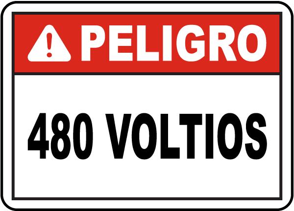 Spanish Danger 480 Volts Sign