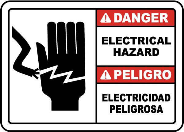 Bilingual Danger Electrical Hazard Sign
