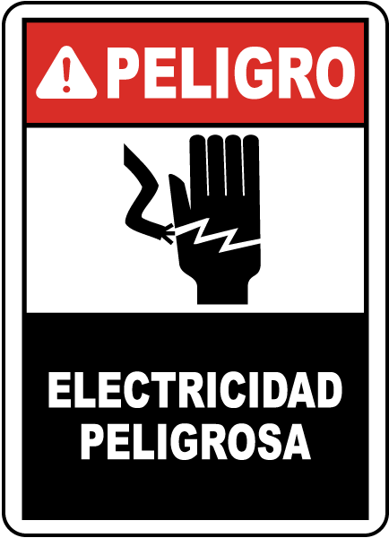 Spanish Danger Electrical Hazard Sign