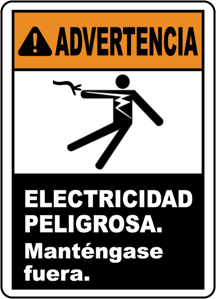 Spanish Warning Electrical Hazard Keep Out Sign
