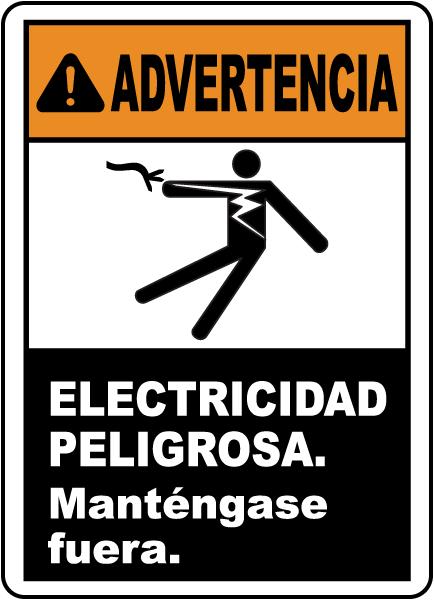 Spanish Warning Electrical Hazard Keep Out Sign