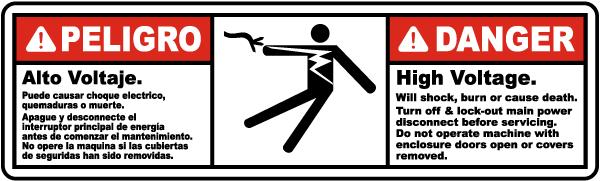 Bilingual Danger High Voltage Will Shock or Burn Label