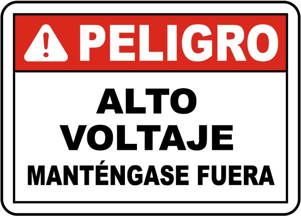 Spanish Danger High Voltage Label