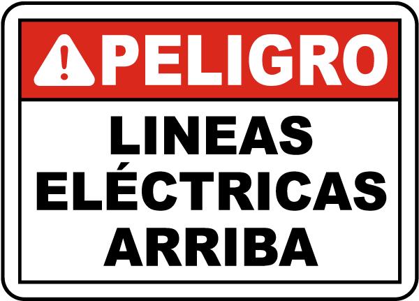 Spanish Danger Overhead Power Lines Sign