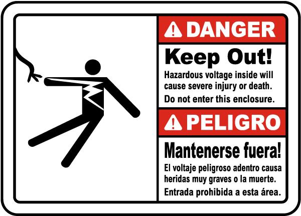 Bilingual Hazardous Voltage Do Not Enter This Enclosure Sign