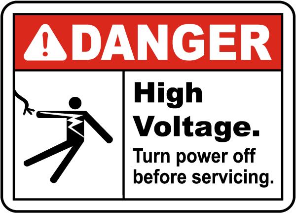 High Voltage Turn Off Power Label