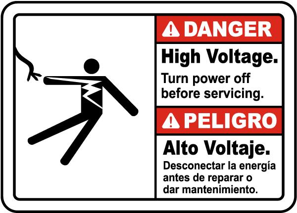 Bilingual Danger High Voltage Turn Off Power Label