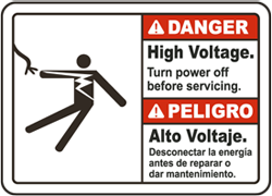 Bilingual Danger High voltage. Turn power off before servicing. Peligro Alto Voltaje.