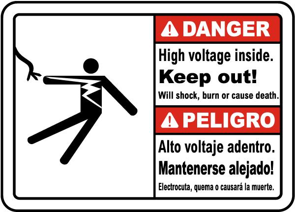 Bilingual Hazardous Voltage Above Keep Out Label