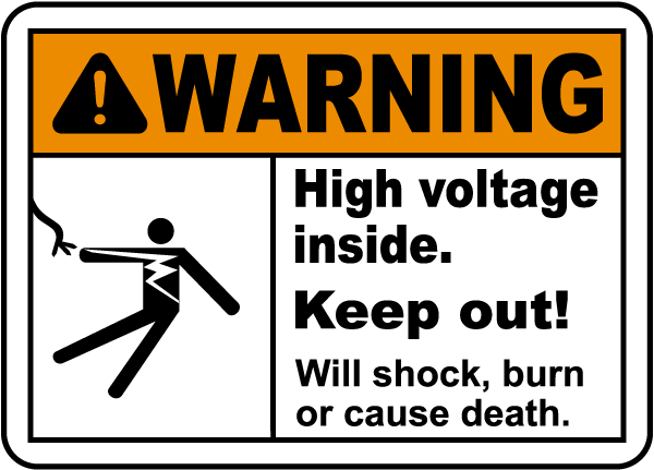 High Voltage Inside Keep Out Label