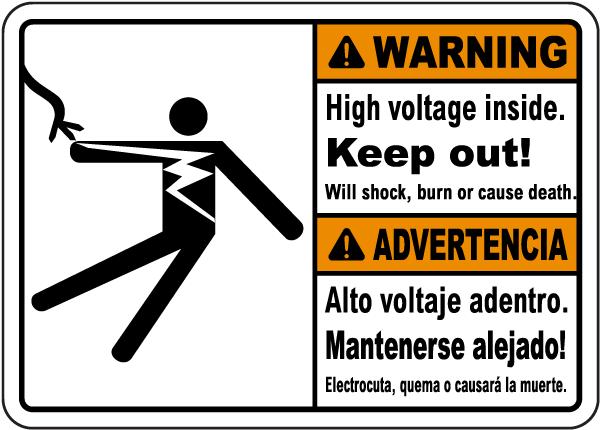 Bilingual Warning High Voltage Inside Keep Out Label