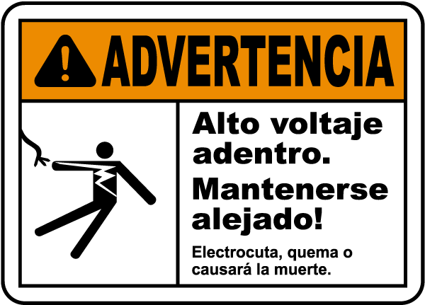 Spanish Warning High Voltage Inside Keep Out Label