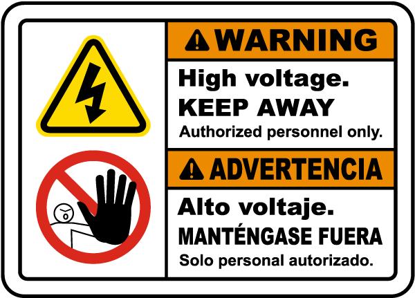 Bilingual Warning High Voltage Keep Away Label
