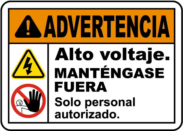 Spanish Warning High Voltage Keep Away Label