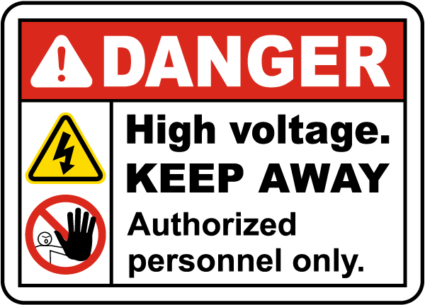 High Voltage Keep Away Label
