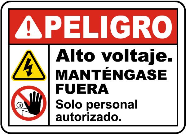 Spanish Danger High Voltage Keep Away Label