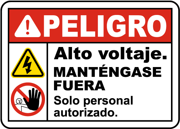 Spanish Danger High Voltage Keep Away Label