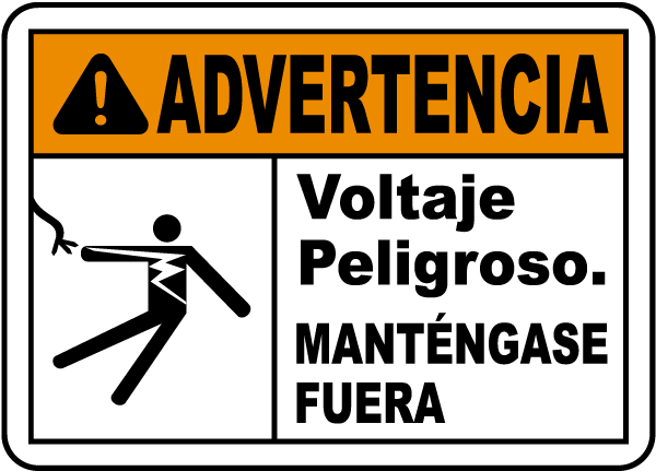 Spanish Warning Hazardous Voltage Keep Away Sign