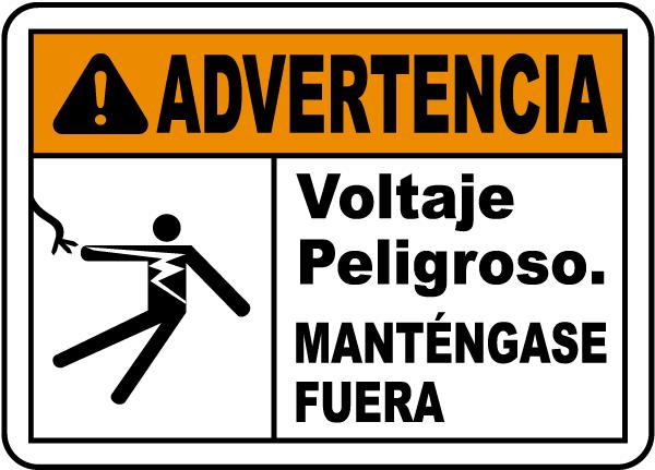 Spanish Warning Hazardous Voltage Keep Away Label