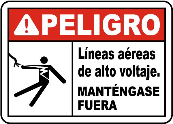 Spanish Danger Hazardous Voltage Overhead Sign