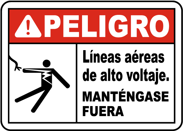 Spanish Danger Hazardous Voltage Overhead Label