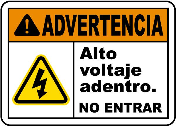 Spanish Warning High Voltage Inside Do Not Enter Label