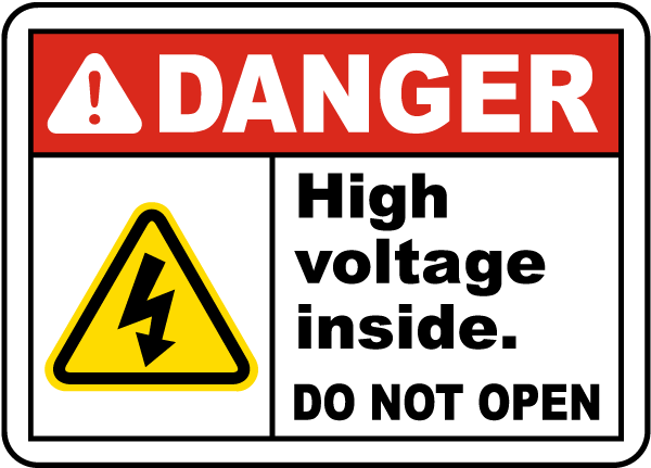 High Voltage Inside Do Not Open Label