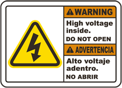 Bilingual Warning High Voltage Inside Do Not Open Sign