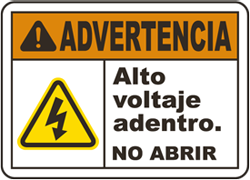 Spanish Warning High Voltage Inside Do Not Open Label