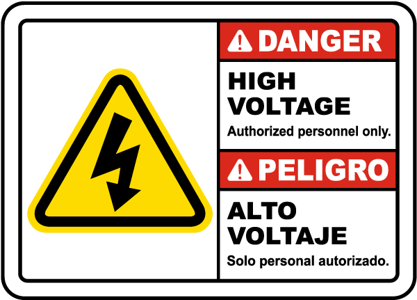 Bilingual Danger High Voltage Authorized Personnel Only Label
