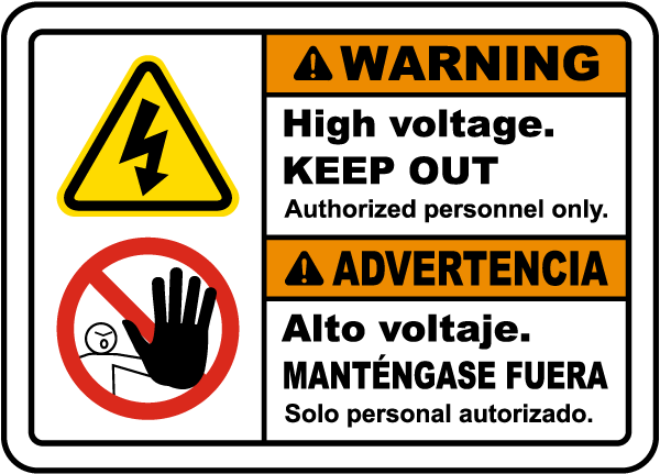 Bilingual Warning High Voltage Keep Out Label
