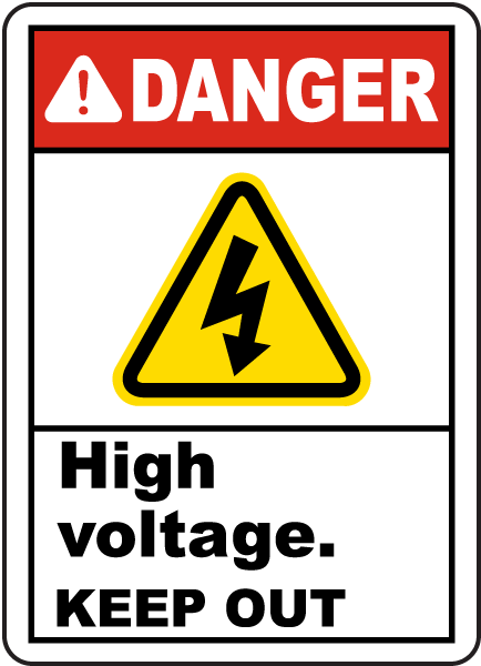 Danger High Voltage Keep Out Label