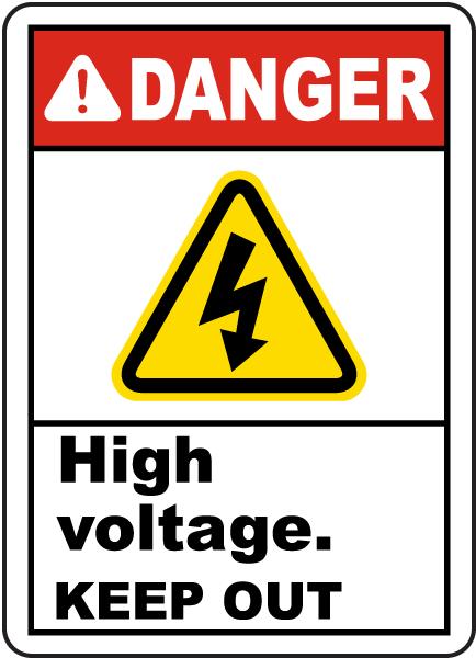 Danger High Voltage Keep Out Label