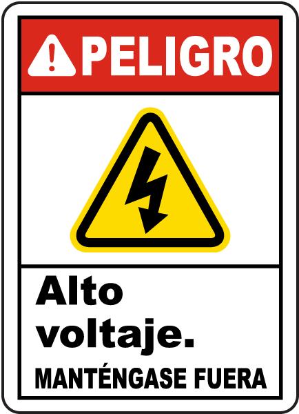 Spanish Danger High Voltage Keep Out Label