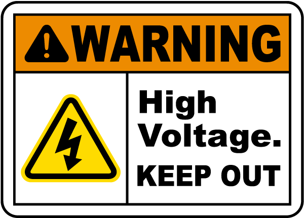 High Voltage Keep Out Label