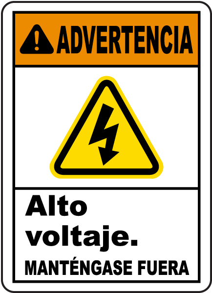 Spanish Warning High Voltage Keep Out Label