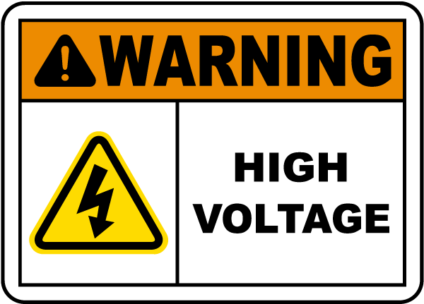 Warning High Voltage Label
