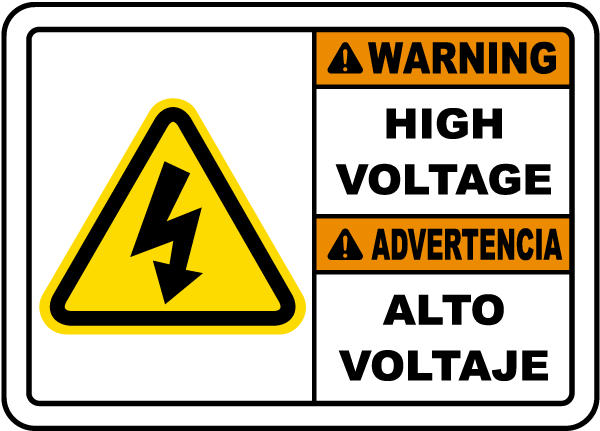 Bilingual Warning High Voltage Sign