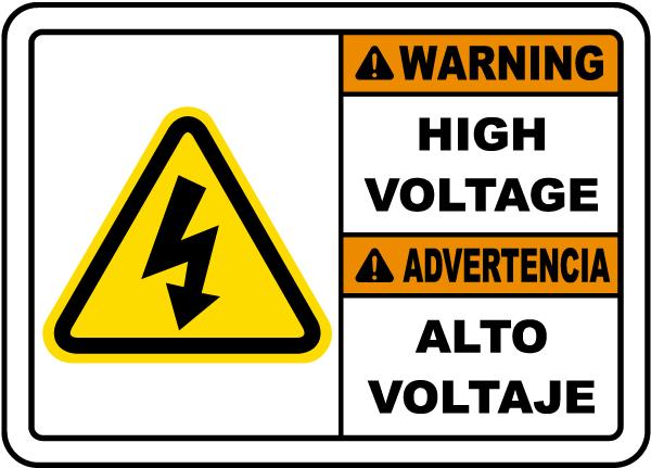 Bilingual Warning High Voltage Label